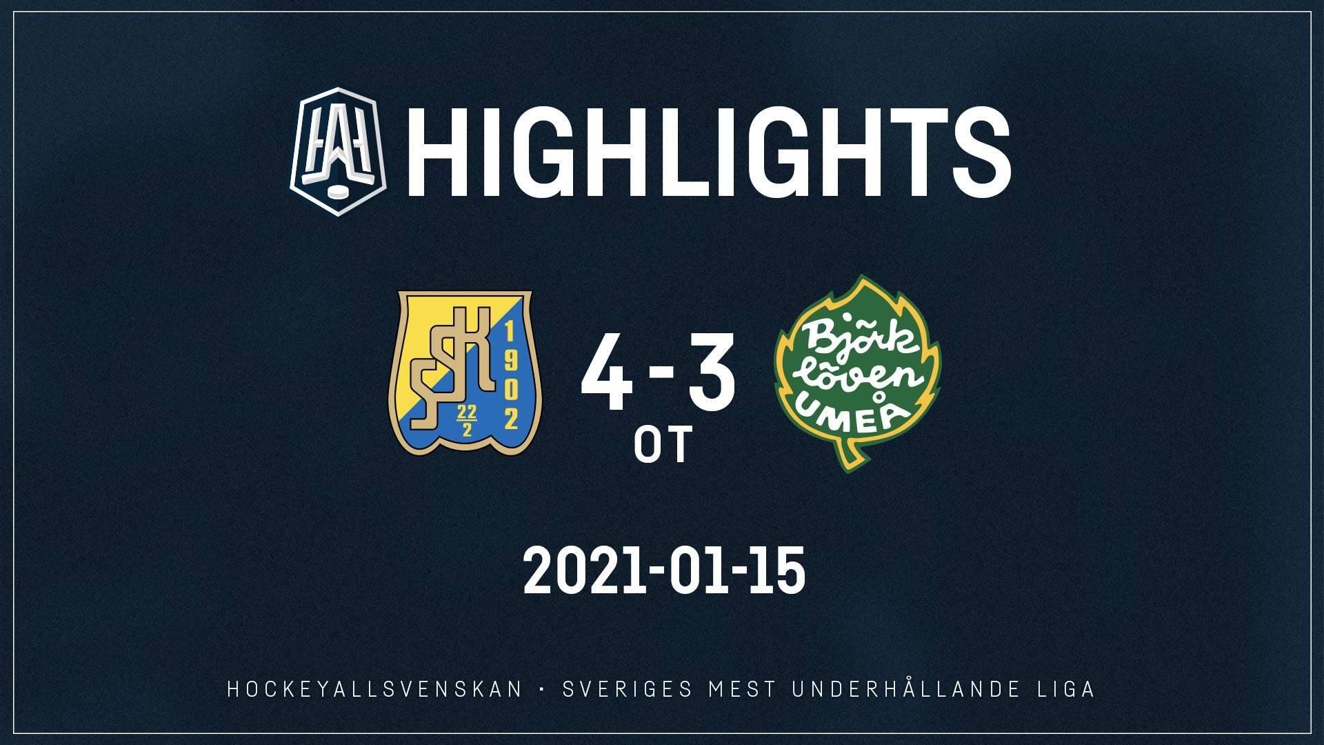 2021-01-15 Södertälje - Björklöven 4-3 (OT)