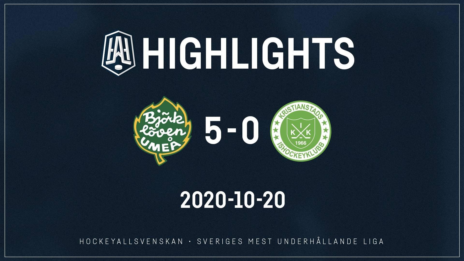 2020-10-20 Björklöven - Kristianstad 5-0
