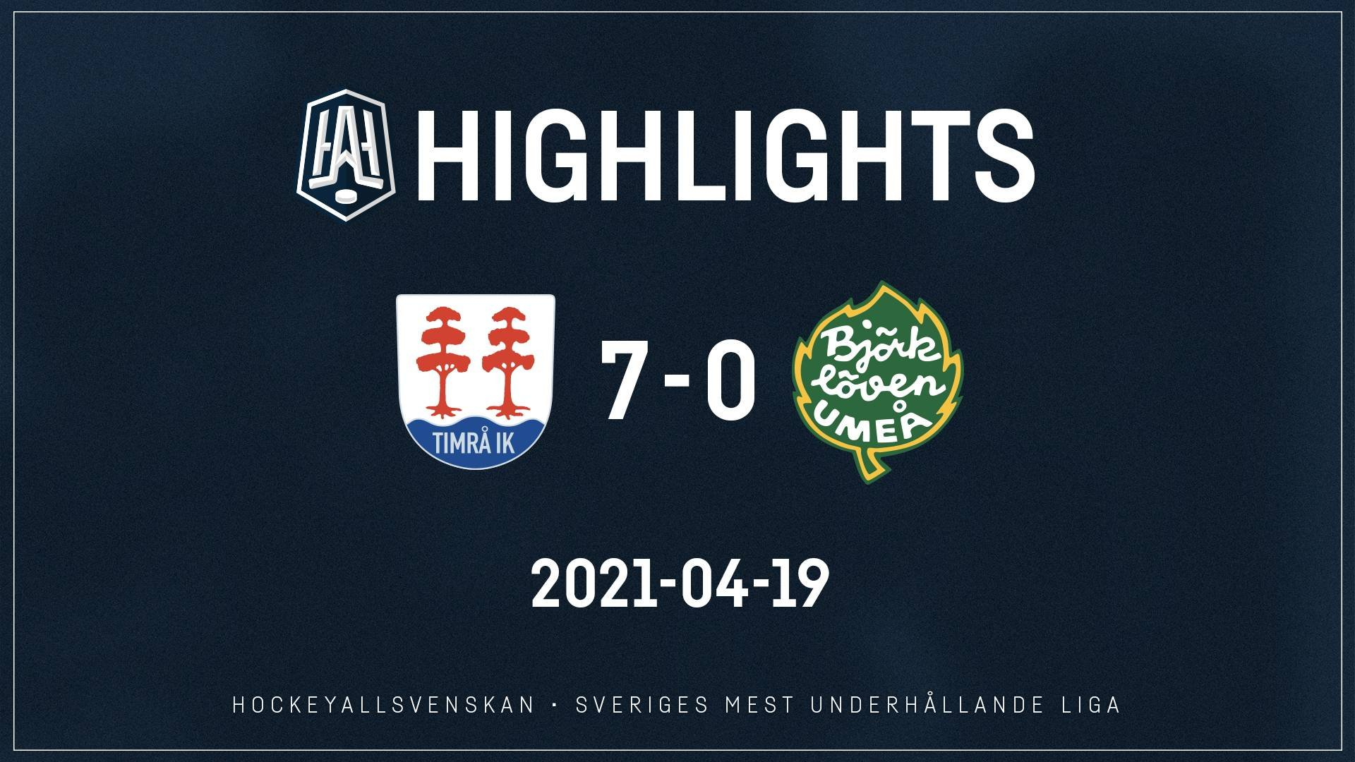 2021-04-19 Timrå - Björklöven 7-0