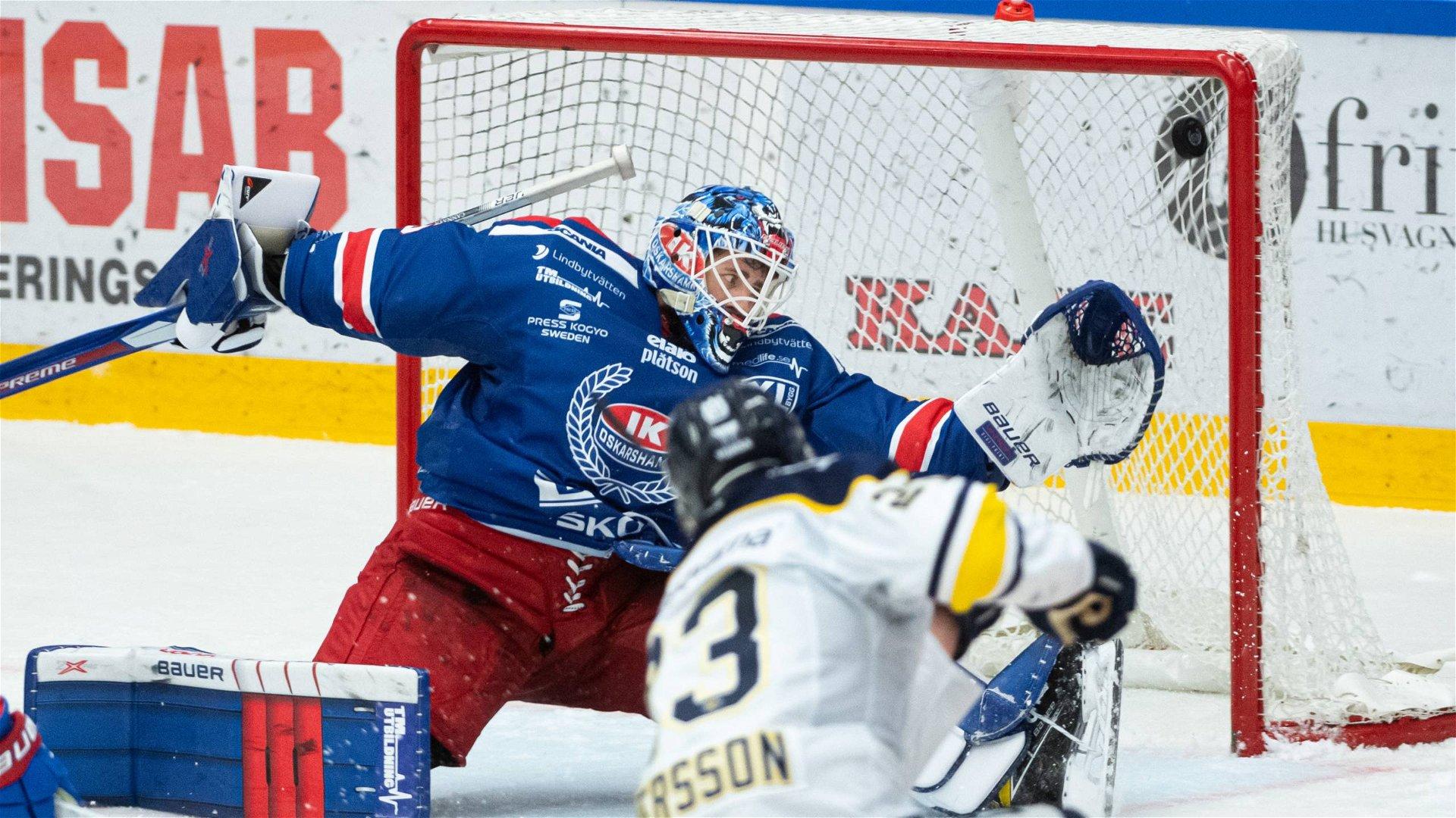 Lias Andersson skjuter avgörande 2-1 för sitt HV71 i Smålandsderbyt mot Oskarshamn