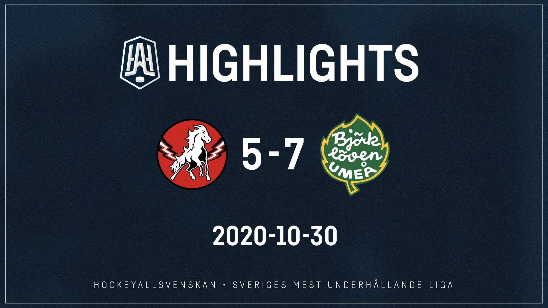 2020-10-30 Vita Hästen - Björklöven 5-7