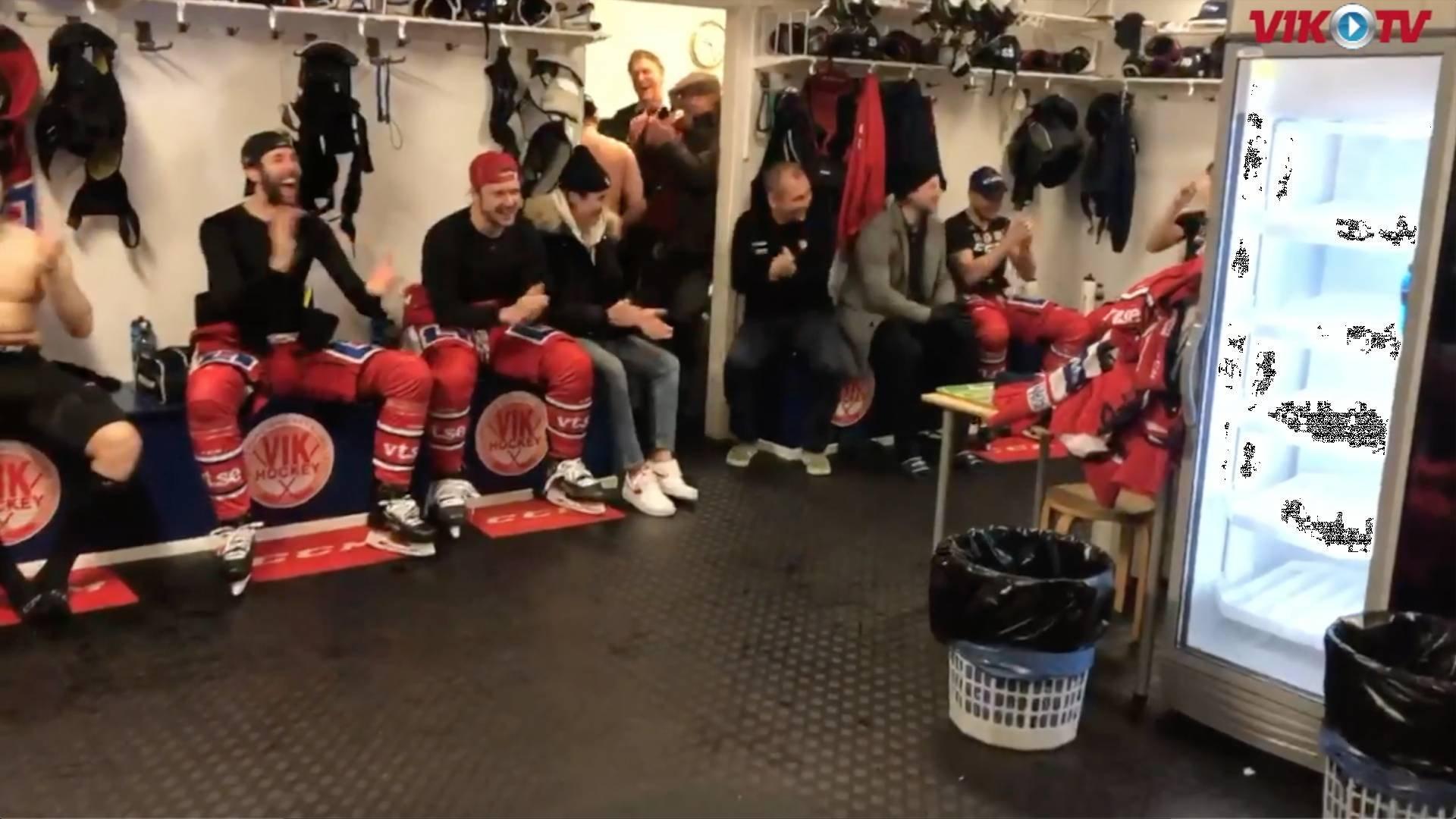 VIK-TV: Omklädningsrumsjubel och intervjuer med Ullman och Åhman efter VIK-Björklöven 4-2