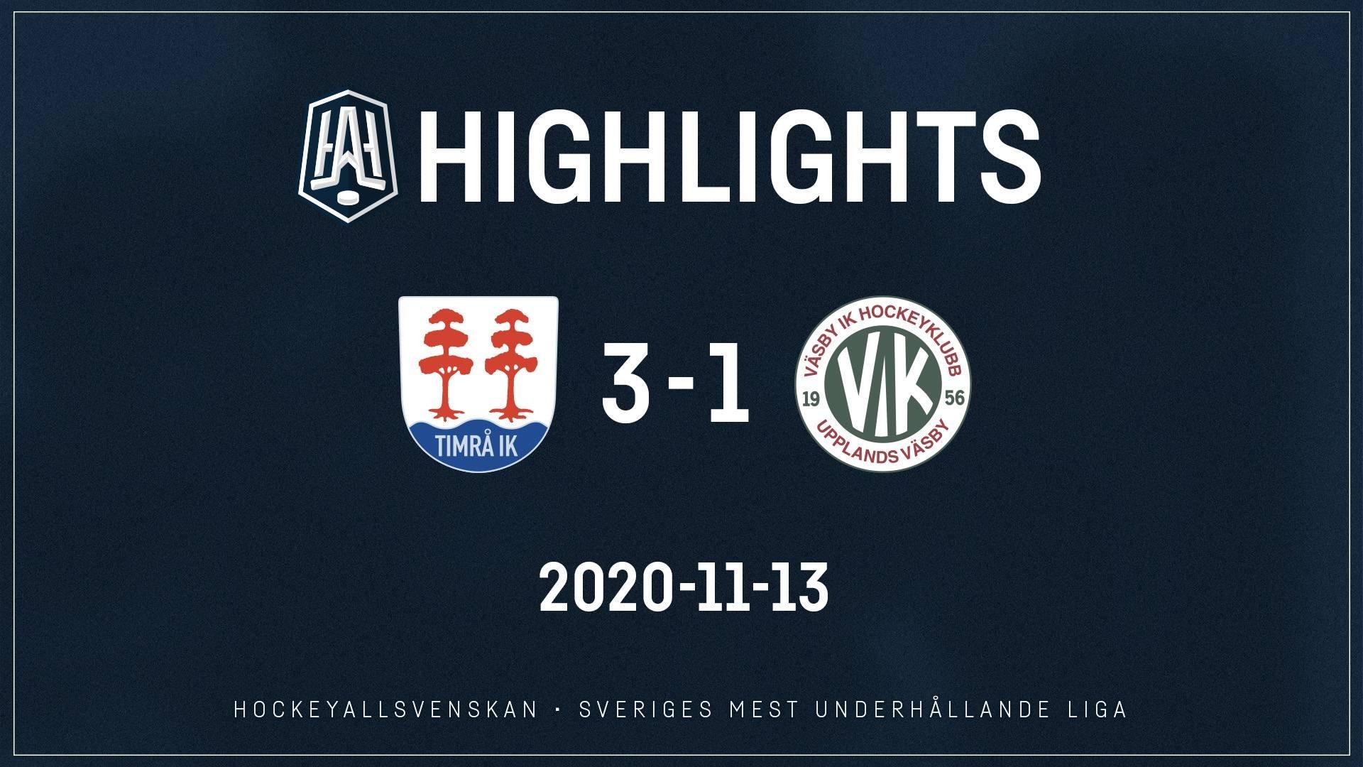 2020-11-13 Timrå - Väsby 3-1