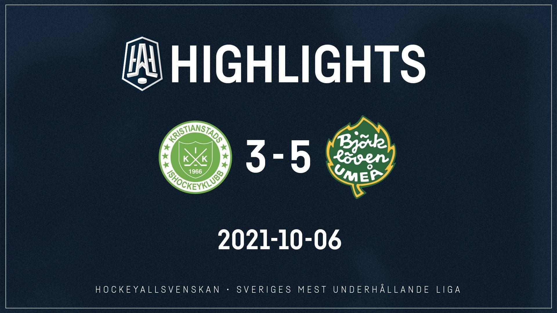 2021-10-06 Kristianstad - Björklöven 3-5
