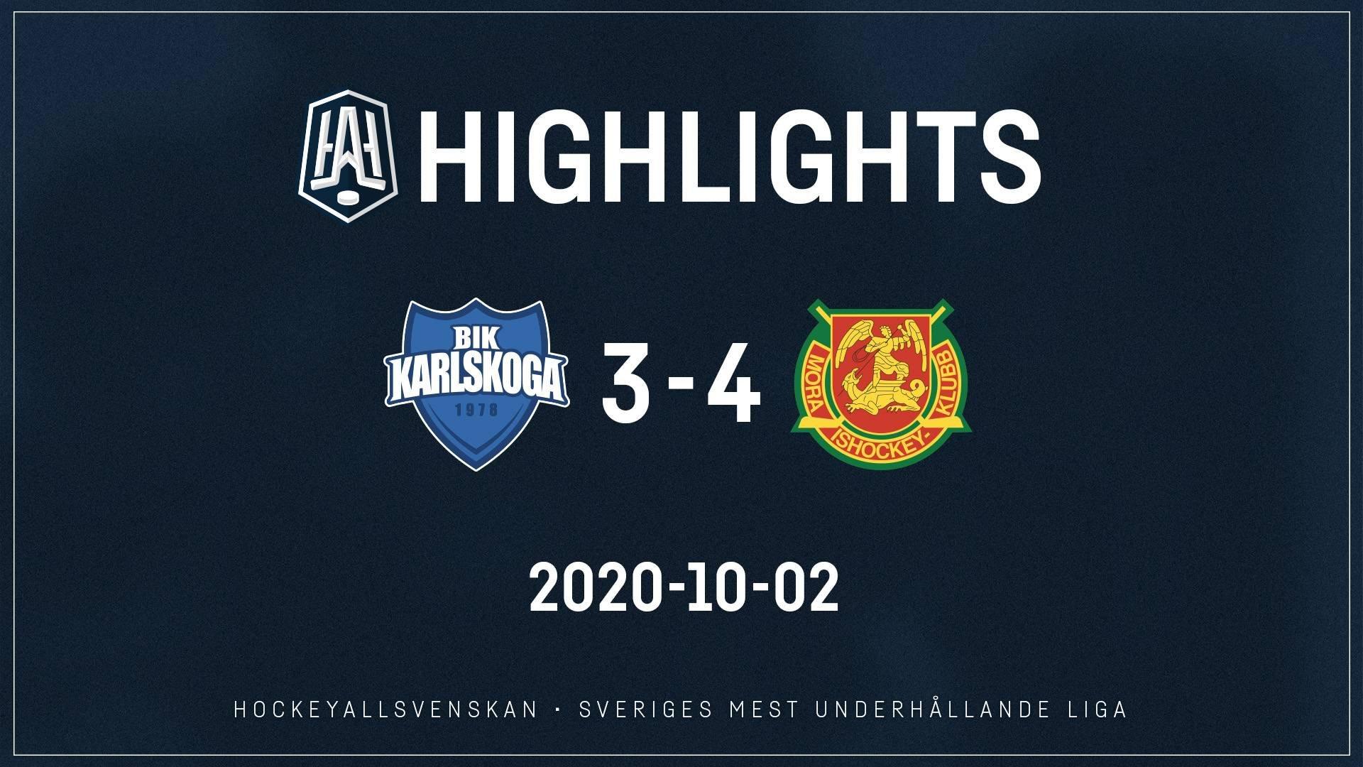 2020-10-02 Karlskoga - Mora 3-4