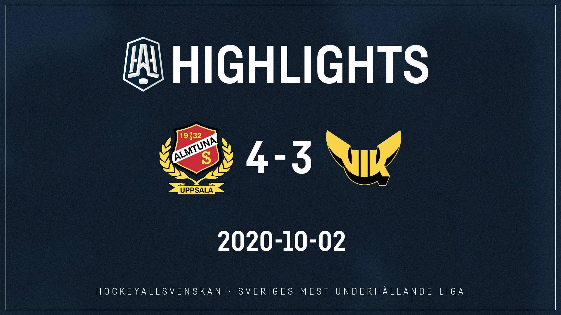 2020-10-02 Almtuna - Västerås 4-3