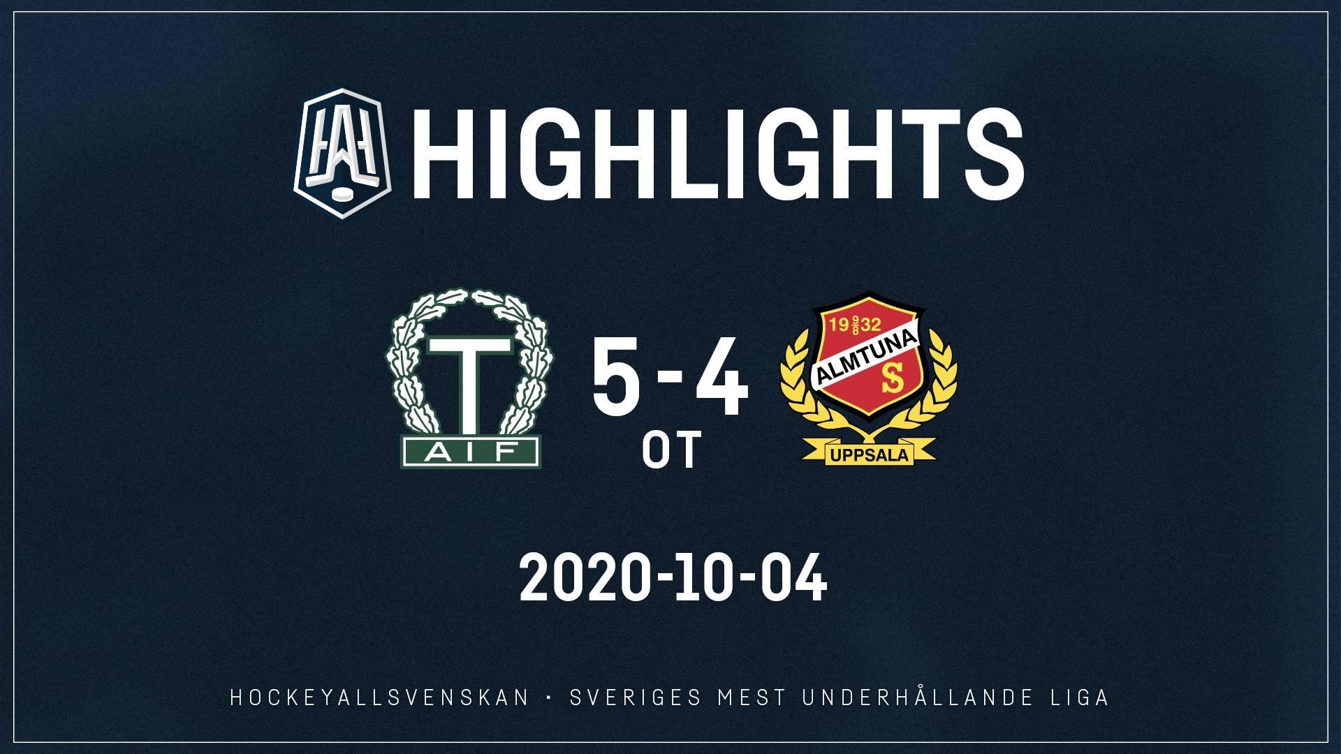 2020-10-04 Tingsryd - Almtuna 5-4 (OT)